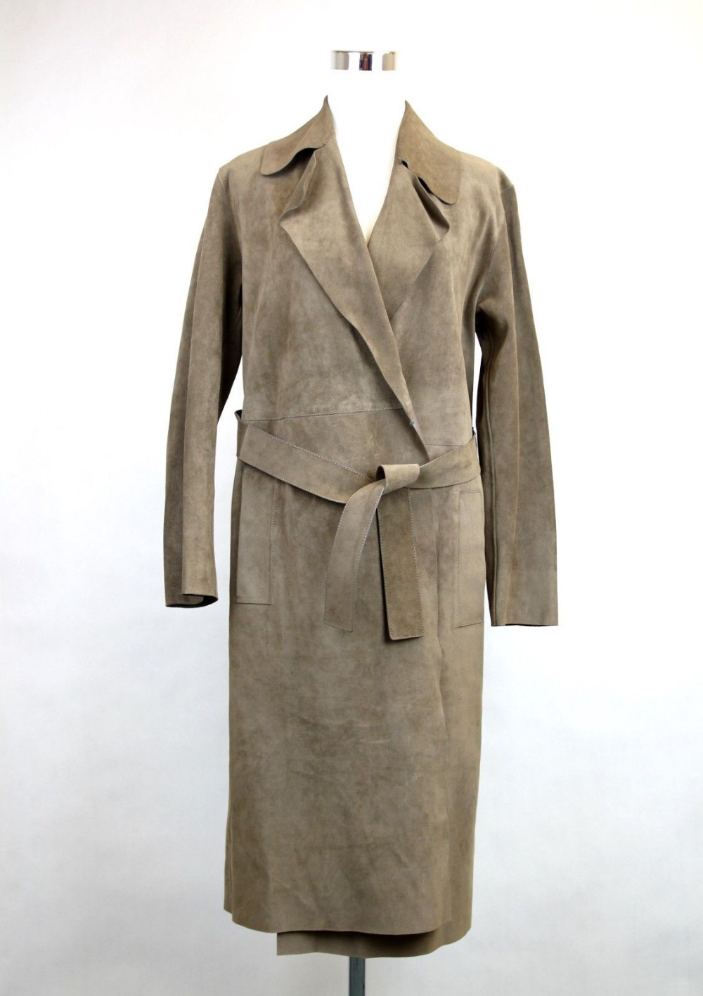 arlene sain Runway Ash Brown Suede Belted Trench Coat with flannal lining
