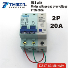 Buy 2P 20A 400V~ 50HZ/60HZ MCB with over voltage and under voltage protection Mini Circuit breaker for $4.23 in AliExpress store