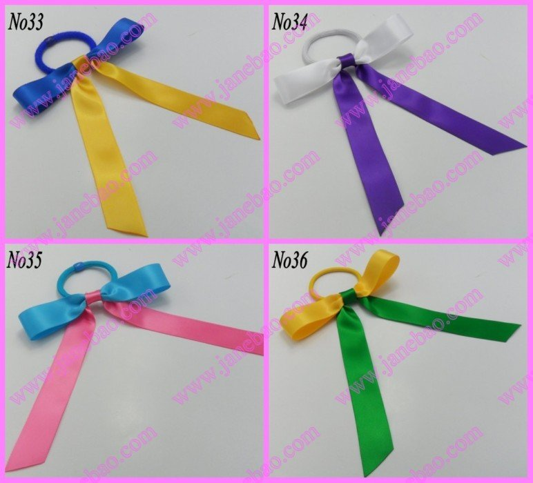 free shipping 500pcs Sport Pony O Hair Bow Ponytail Streamers mix color ponytail holder bows(China (Mainland))