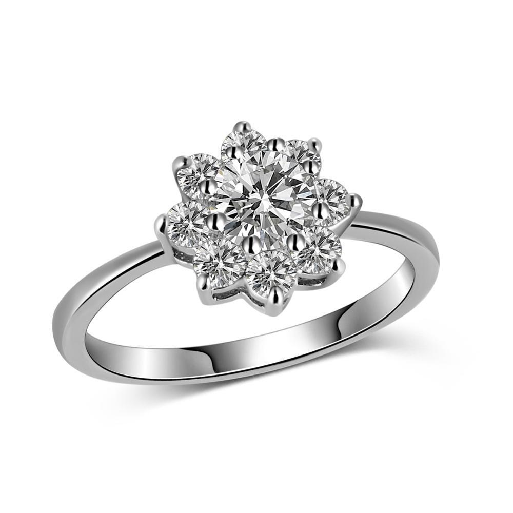 2016 new type of sun flower zircon ring snowflake ring for