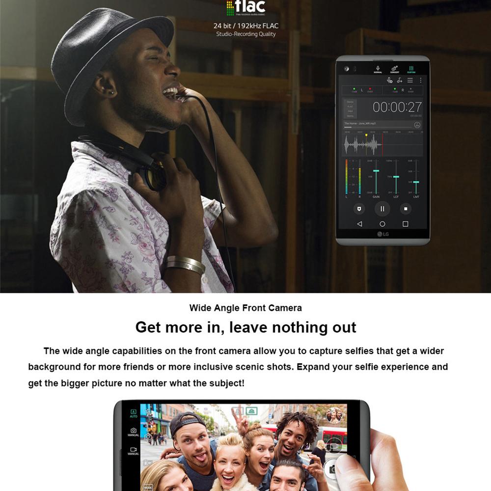 "New Original LG V20 4GB RAM 64GB ROM  Fingerprint Snapdragon 820 Android Dual SIM 5.7"" 16MP+8MP Back Camera 4G LTE Smartphone"