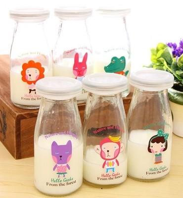 Cartoon pudding bottle glass pudding cup yogurt bottle milk bottle pudding bottle 200ml milk Jars custom wholesale(China (Mainland))