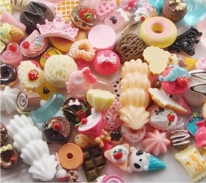 Free shipping Mix Styles Flat back Resin Dessert Cabochons Resin Food Jewelry / Mobile phone DIY Accessory by 500pcs/lot(China (Mainland))