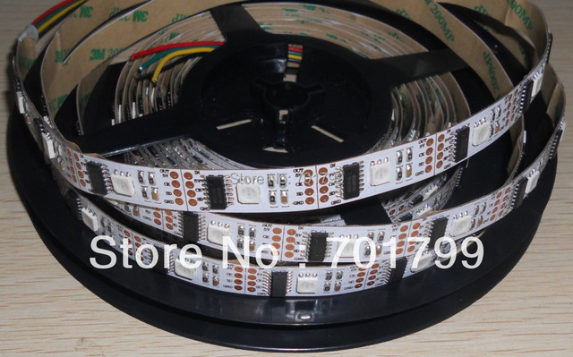 WHITE PCB 5m led digital strip,DC5V input,WS2801IC(256 scale);32pcs IC and 32pcs 5050 SMD RGB each meter;non-waterproof