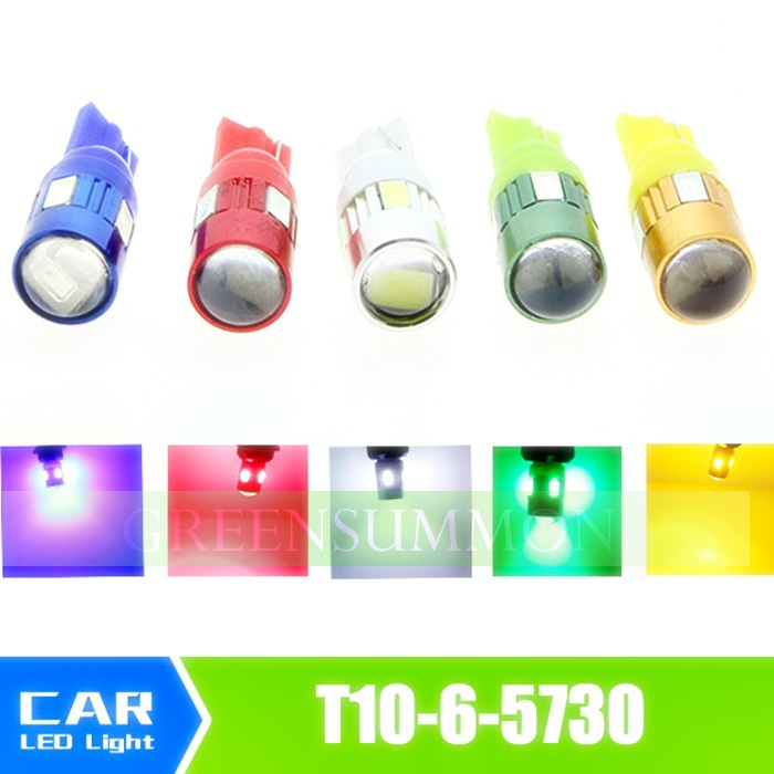 2pcs  White/Red/Blue/Yellow/Green T10 led 6 SMD 5730 Chip Car LED Lens Indicator Wedge Dome Signal Light Bulb Lamp<br><br>Aliexpress