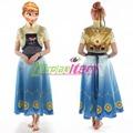 2015 New arrival Anna dress adult costume princess dress movie fairy tale fancy halloween cosplay costume