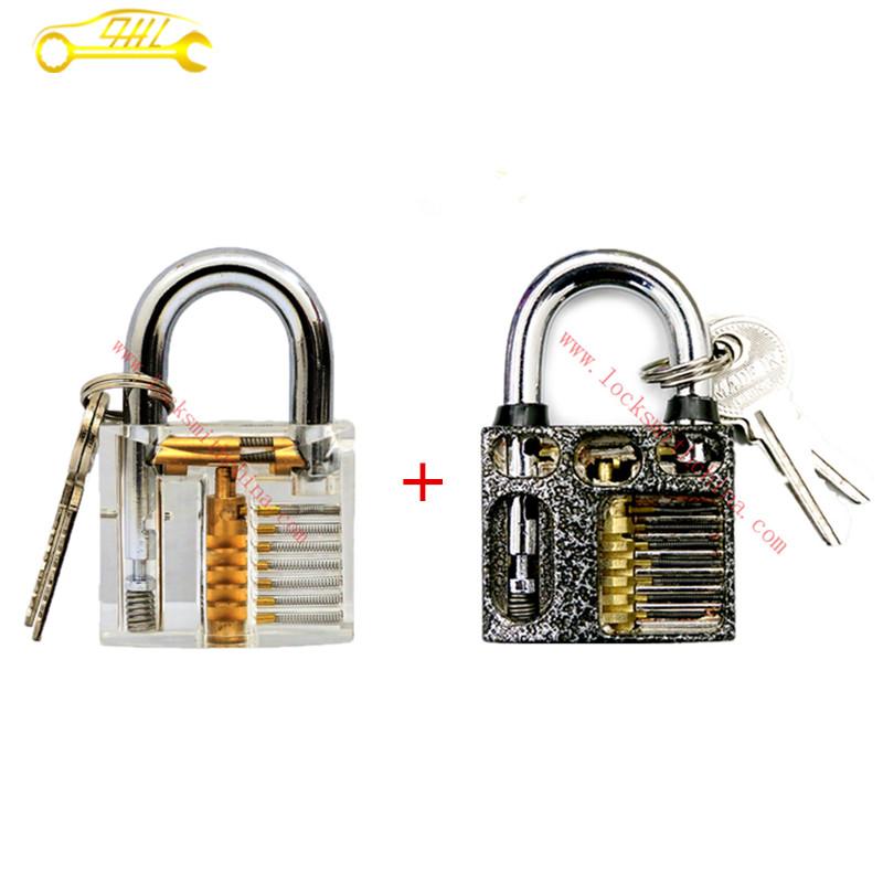 Hot Sale Silver Grey Stainless Steel Cut Away 7-Pin Practice Lock&Transparent Cutaway Crystal Practice Lock Locksmith Supplies(China (Mainland))