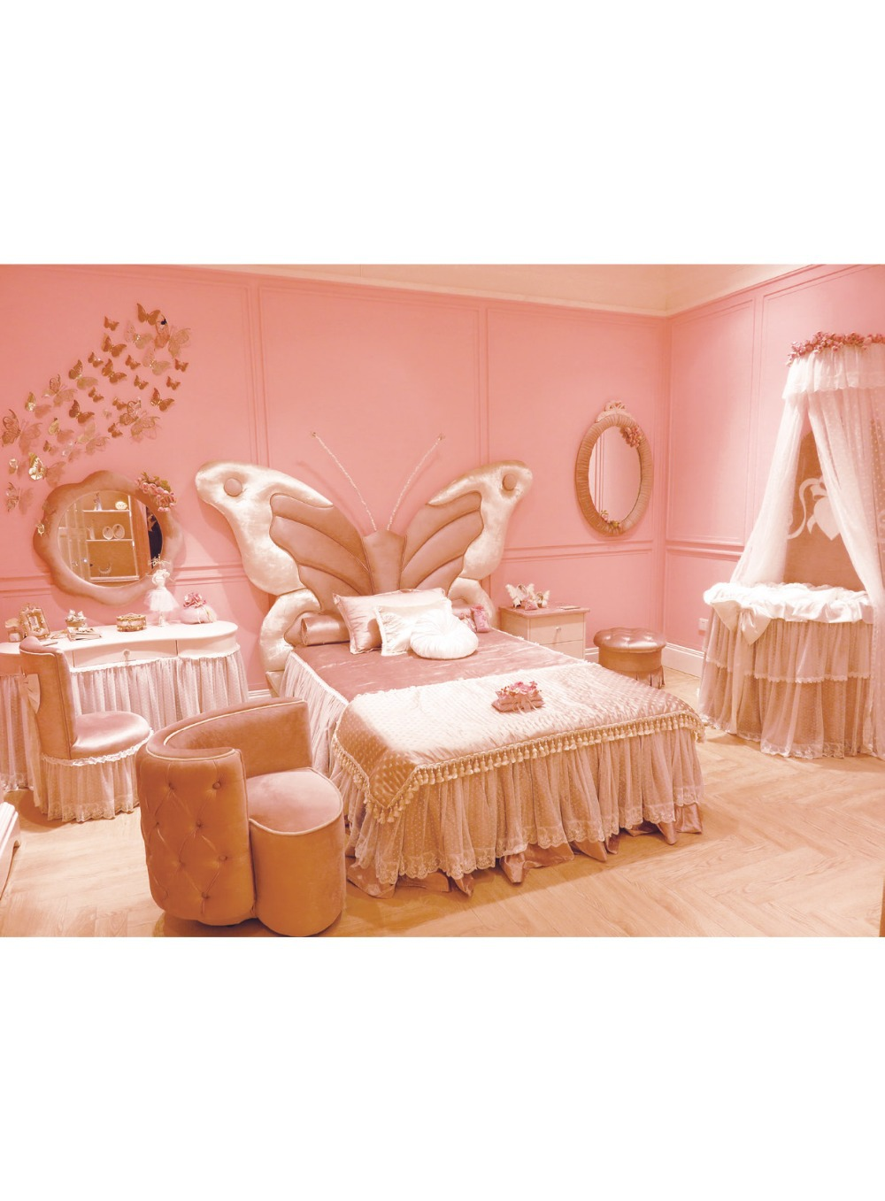 Fairy tale style solid wood kids bed butterfly shape for Fairytale beds