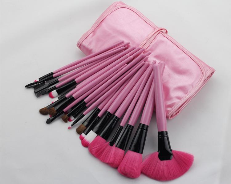 Professional 24 pcs Makeup Brush Set tools Make-up Toiletry Kit Wool Brand Make Up Brush Set Case Free Shipping MMK-03(China (Mainland))