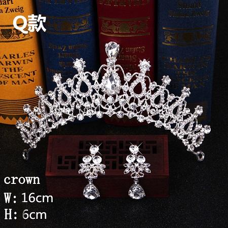 Bridal Hair Accessories Tiara Headdress Headband Hair Clips Women Crystal Pearls Decor Hair Band+earrings Jewelry Wedding (4)