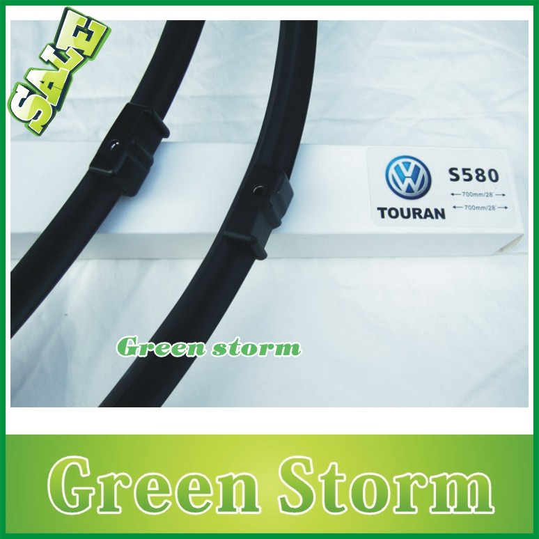 (2pcs/Pair) car wiper blades Volkswagen Touran soft silicone Rubber WindShield Wiper Blade Arm - Green Storm Automobile Products co., LTD store