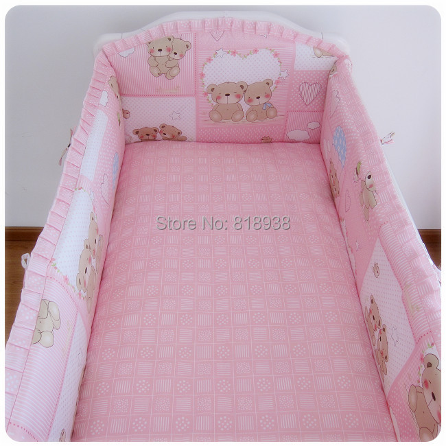 With Filler 5 Pcs/sets baby bed set 120x70cm cotton curtain crib bumper baby cot sets baby bed bumper 818938<br><br>Aliexpress