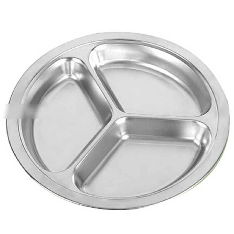 1pcs 3 Sections Stainless Steel Students Grid Dinner Plate Lunch Box Babecue Snack Tray(China (Mainland))