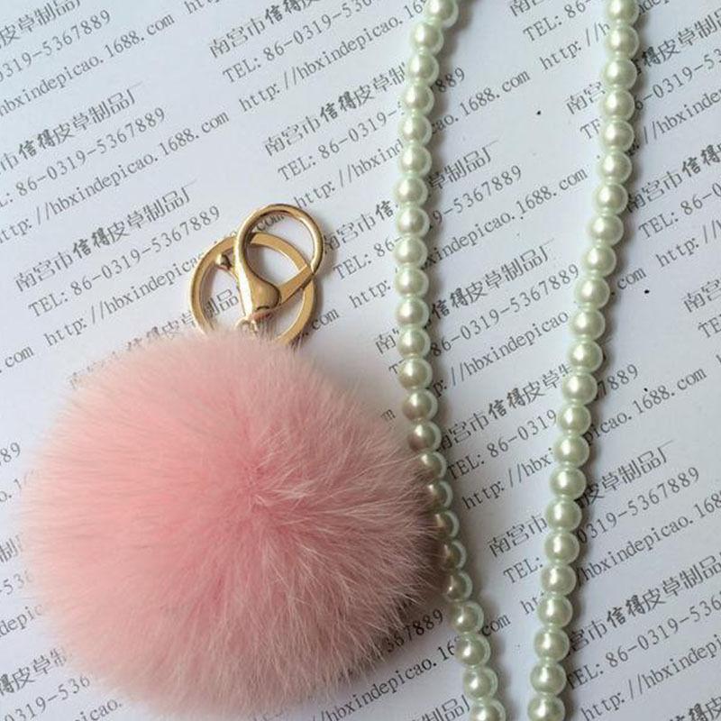Rabbit Fur Ball Cell Phone Car Keychain Keyrings Pendant Handbag Charm Key Chain Ring Fobs Bijouterie Trinket Ornament Accessory(China (Mainland))