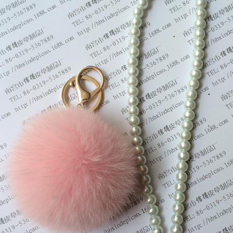 Rabbit Fur Ball Cell Phone Car Keychain Keyrings Pendant Handbag Charm Key Chain Ring Fobs Bijouterie Trinket Ornament Accessory(China (Mainland))