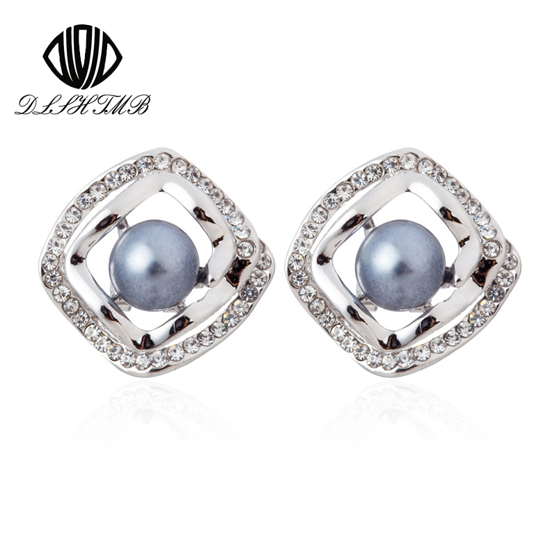 Brand New Fashion Geometric Square Pearl Clip Earrings High Quality ear cuff Women Jewelry white/Black/Golden Silver Earrings(China (Mainland))