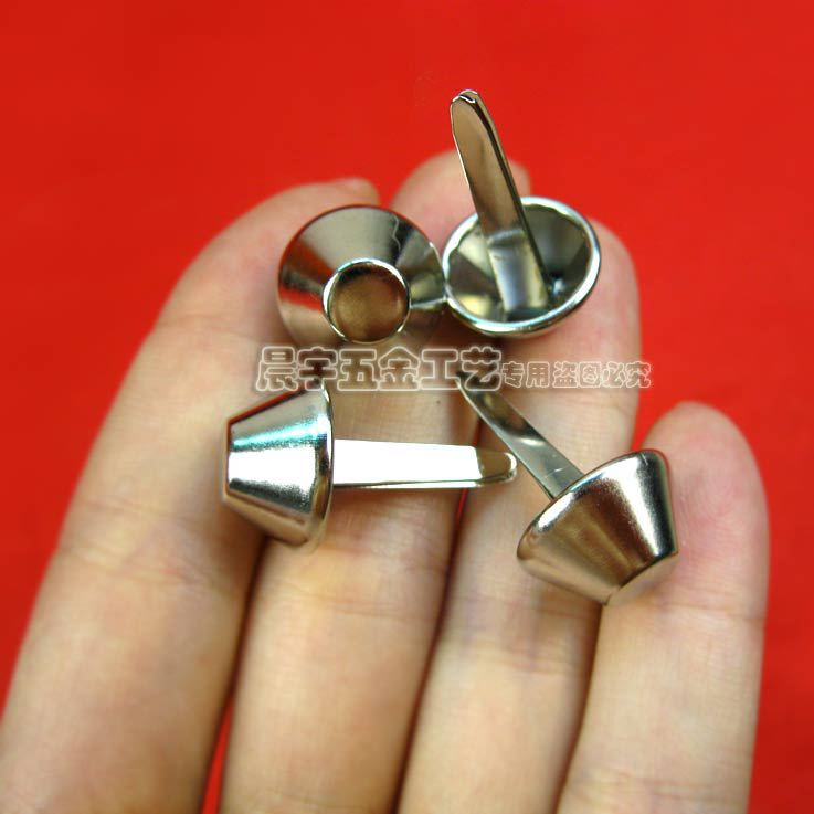15*23mm Two feet nails Brads Staples Claw 2 spikes Buckets Bags glossy Mushroom nail Rivets decorative accessories handmade DIY(China (Mainland))