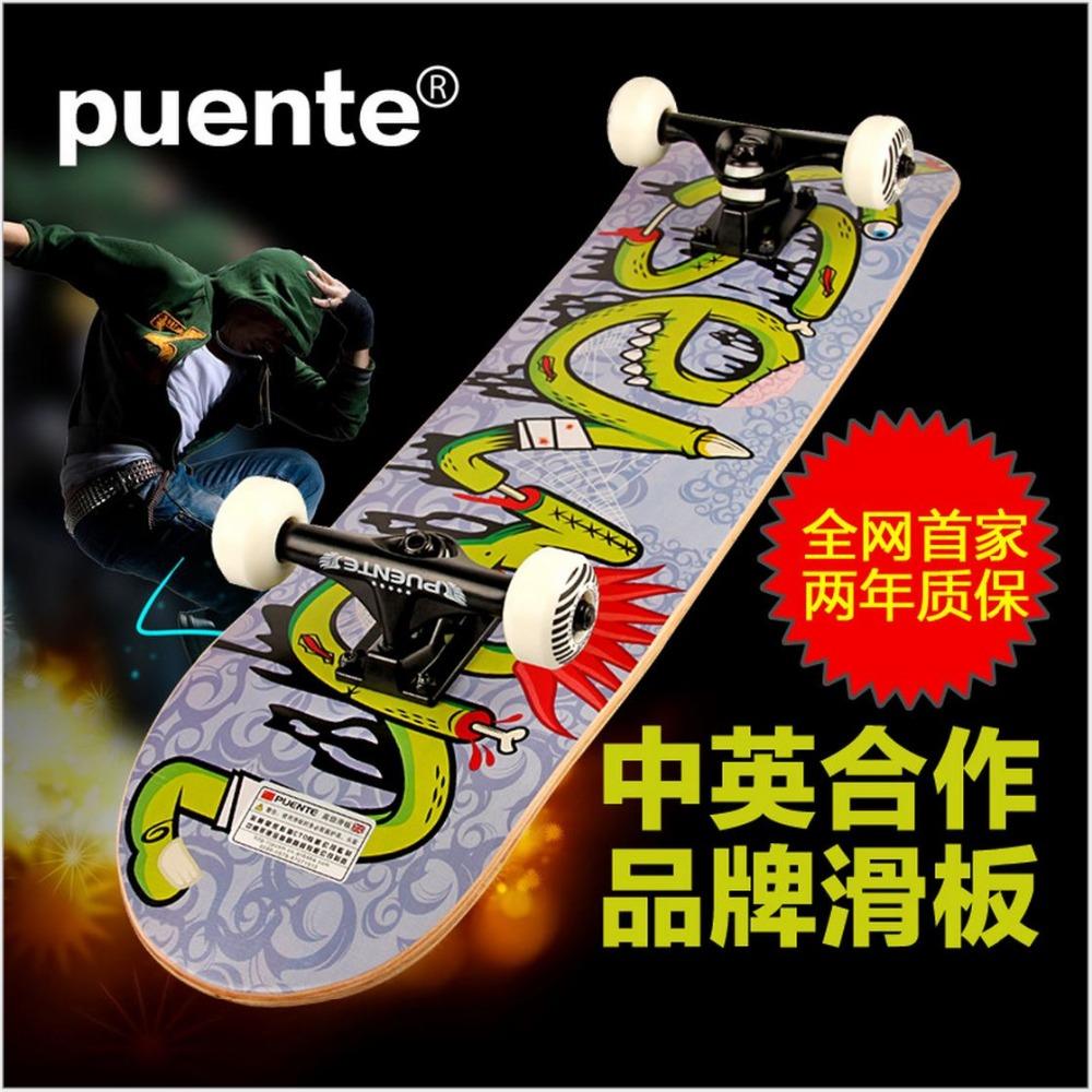 Puente Canadian Maple Graffiti SkateBoard 78.5*19.5*10 cm DoubleRocker Monopatin street skate Limit skateboard