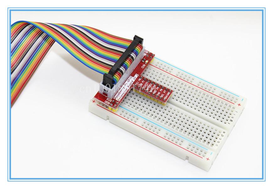 Гаджет  DZ 1Set Raspberry PI GPIO Extension Board + 26 Pin Extension Flat Ribbon Cable Wire + 400 Points Breadboard Next None Компьютер & сеть