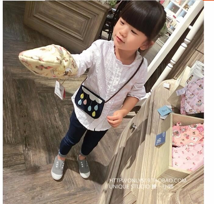 2016 Spring Kids Children Shirts Solid Cotton Long Sleeve Bow Girl shirts all for kids clothes and accessories Girl Blouse 2-6y