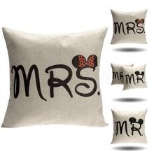 Cushion Cover Cotton Linen Pillow Case Sofa Waist Throw Couch Car Ded Home Decor Mr & Mrs Mickey Mouse Pillowcase Chair Covers