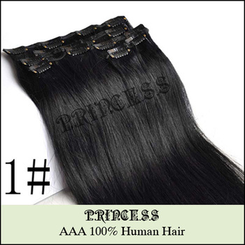 "Wholesale 15""-22"" Women's Remy Human Hair Straight Clips In Hair Extensions 75gr Jet Black #1"