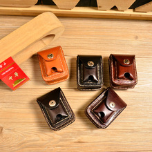 Unisex cigarette pack original vintage handmade leather vegetable tanned leather Zippo cigarette lighter package(China (Mainland))