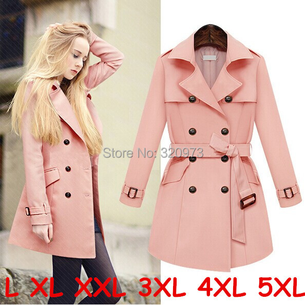 L XL XXL woman trench spring autumn 2014 new plus size long slim pink women coat - 5A Online Store store