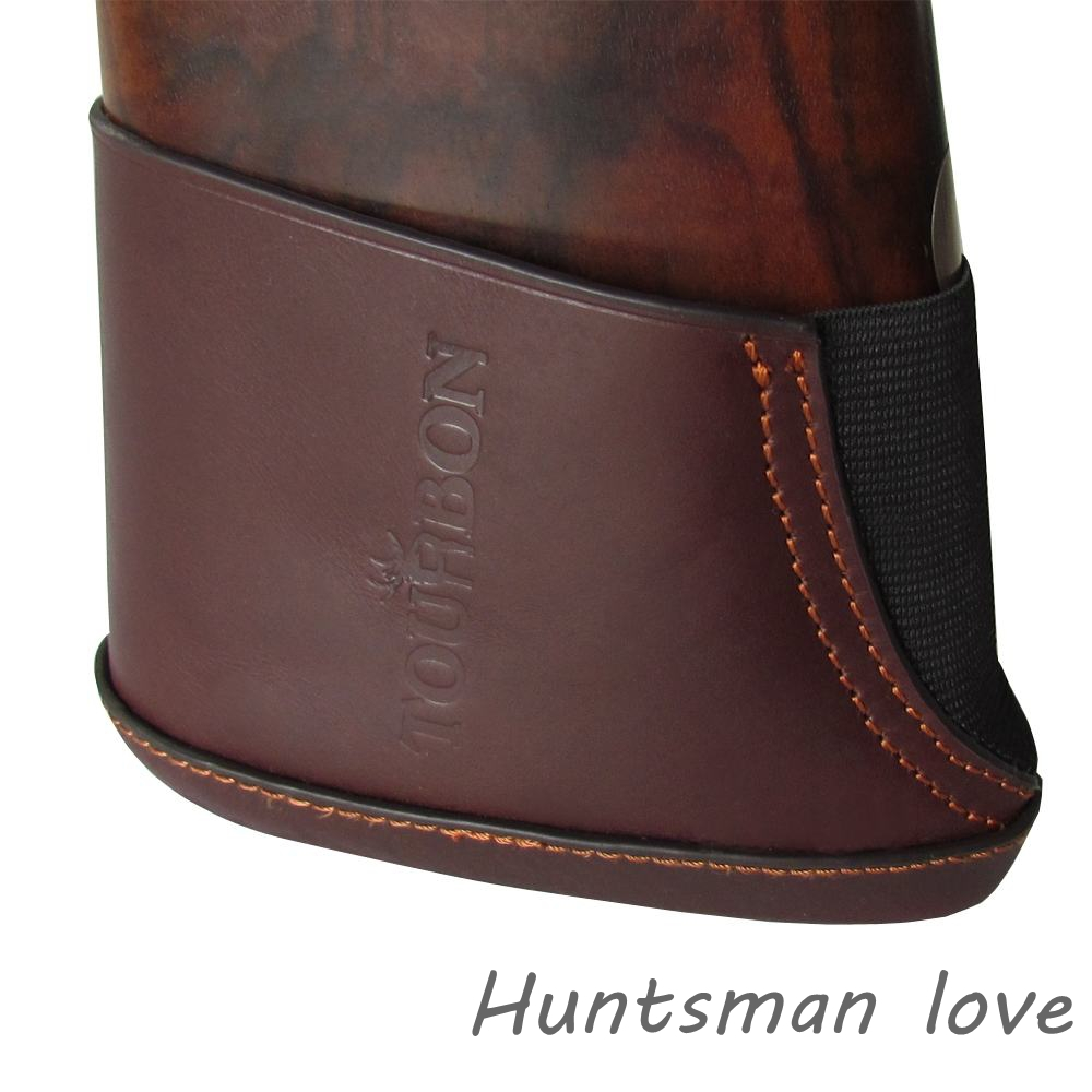New Arrival Durable Dark Brown Shotgun Stock Extension Genuine Leather Slip On Recoil Pad Shooting Hunting