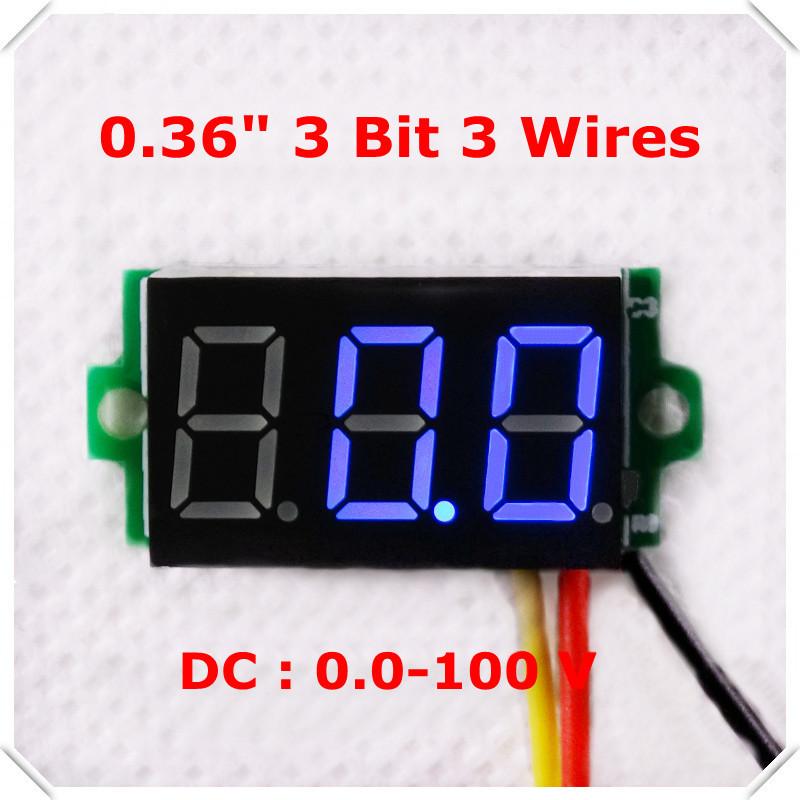"Blue Color Display LED DC 0-100V 0.36"" Digital Voltmeter Three Wires 3 Bit car Voltage Panel Meter [ 10 pieces / lot](China (Mainland))"