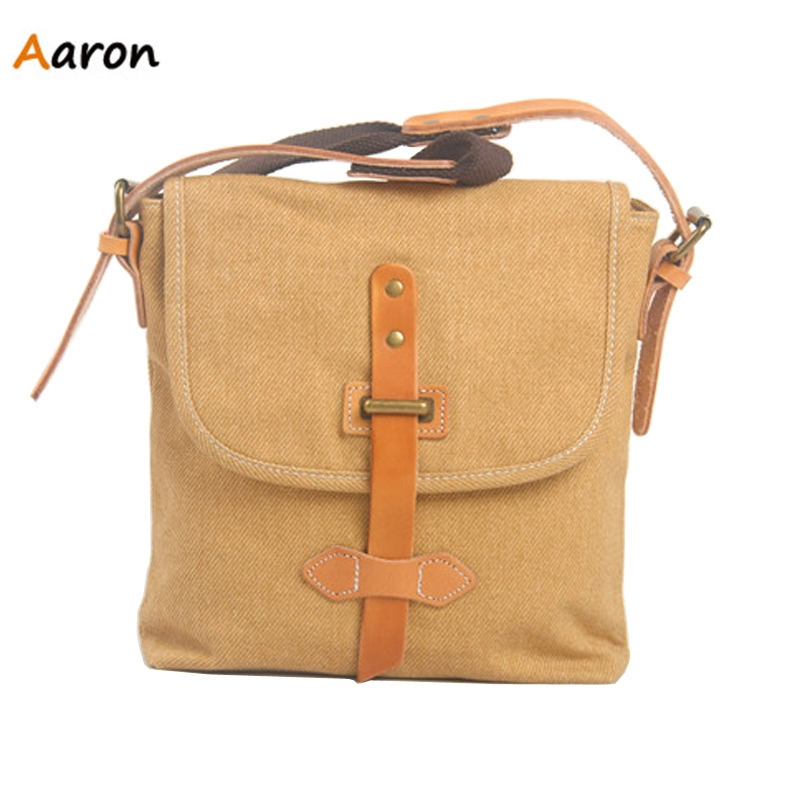 Aaron - Fresh Trendy Canvas Leather Handmade Messenger Bag For Women,Simple Leisure Shopping&Trip Ladies Shoulder Bag With Belts
