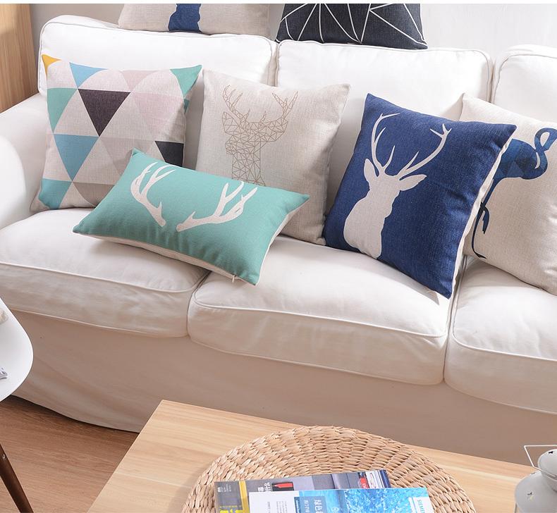British minimalist Home Pillow Decoration black and white geometric Sofa Cover bird Nordic cotton Cushions Home Decor wholesale