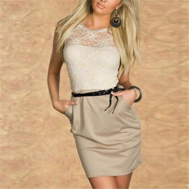 Мода женщин кружева сексуальный Bodycon мини платье карандаша ол тонкий рукавов ну вечеринку платья