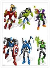 hot sale 6styles Marvel Super Hero Avengers Big Figures / Iron man/ captain America Building Blocks Toys free shipping