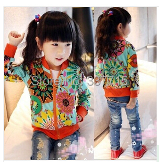 2015 new autumn children girls sunflower print hoodie fleece thin kids cotton jacket outwear cardigan zipper closer coat - Whats Apparel store