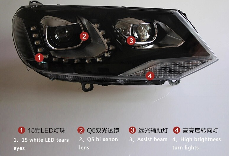 Auto Clud 2011-2014 For vw touareg headlights car styling LED for vw touareg DRL tear eyes xenon bi xenon lens headlamps parking