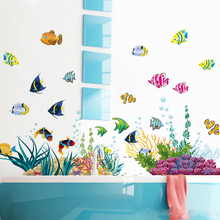 Buy Free 2pc/set Large size removable waterproof 3d cartoon fish bathroom wall stickers living room wall arts kids gift for $7.02 in AliExpress store