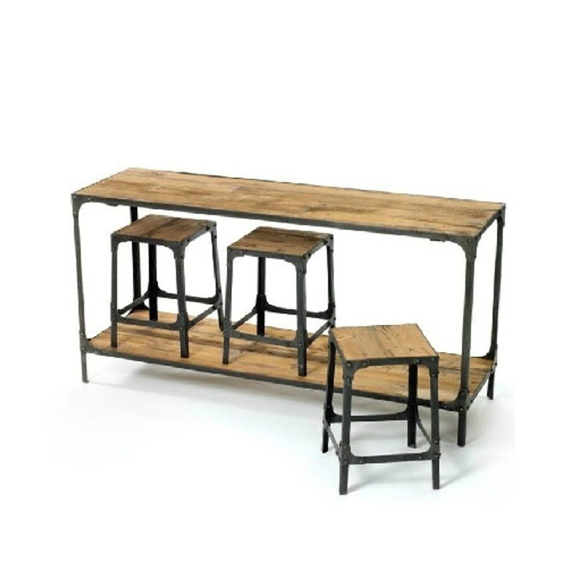 American Retro Dinette Loft Industry Conference Iron Wood Bar Tables And Chairs Combination