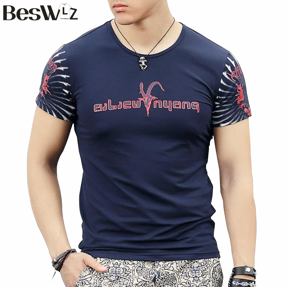 2015 Fashion New Summer Mens T-shirt Cotton Short-Sleeved O-Neck Print Tiger Design Male Tops Clothes 6819Одежда и ак�е��уары<br><br><br>Aliexpress