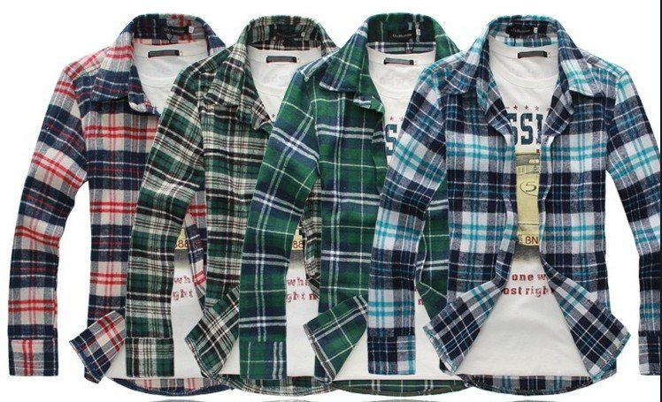 Spring new style men 39 s long sleeve shirt 100 cotton check for Best check designs