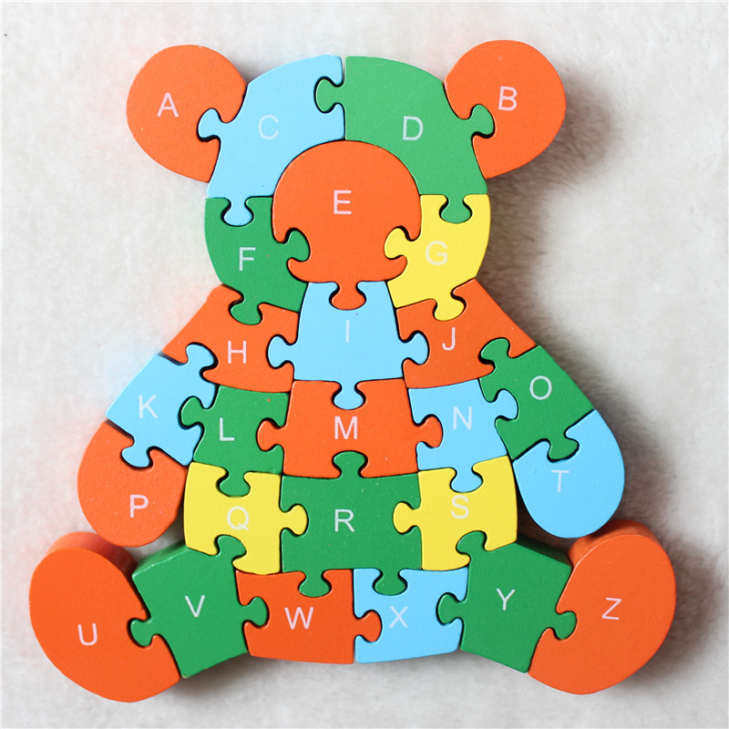 Wooden Animal Puzzle Little Bear Colorful Jigsaw Number and Alphabet 26 Letters For Kids Learning Educational Toy(China (Mainland))