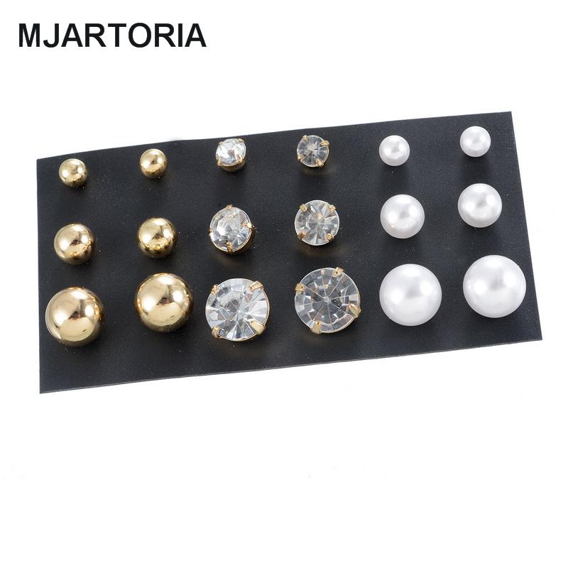 1Set 9 Pairs Classic Elegant Round Stud Earrings Faux Pearl & Rhinestone Fashion Unisex Jewelry Different Size(China (Mainland))