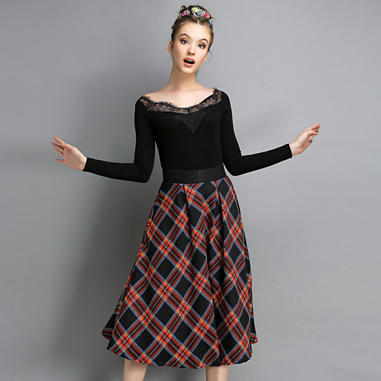 New Fashion Women Skirt Cotton Knee Length Coat Ladies Ball Gown High Waist font b Tartan