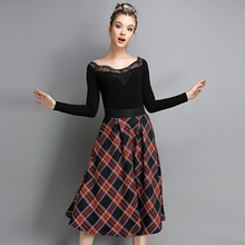 New Fashion Women Skirt Cotton Knee-Length Coat Ladies Ball Gown High Waist Tartan Design Clothing Casual Patchwork Skirt HZ255
