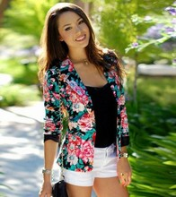 Blazers Feminino Long Sleeve Floral Slim Cape Blazer Women Suit Bleiser Mujer Blazer Femme Jaquetas Feminina Veste Femme(China (Mainland))