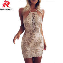 Buy Reaqka new arrival Chic Embroidery Celebrity Bodycon Strap sundress 2017 sexy sleeveless Halter Hollow Lace club HL Dress party for $16.10 in AliExpress store