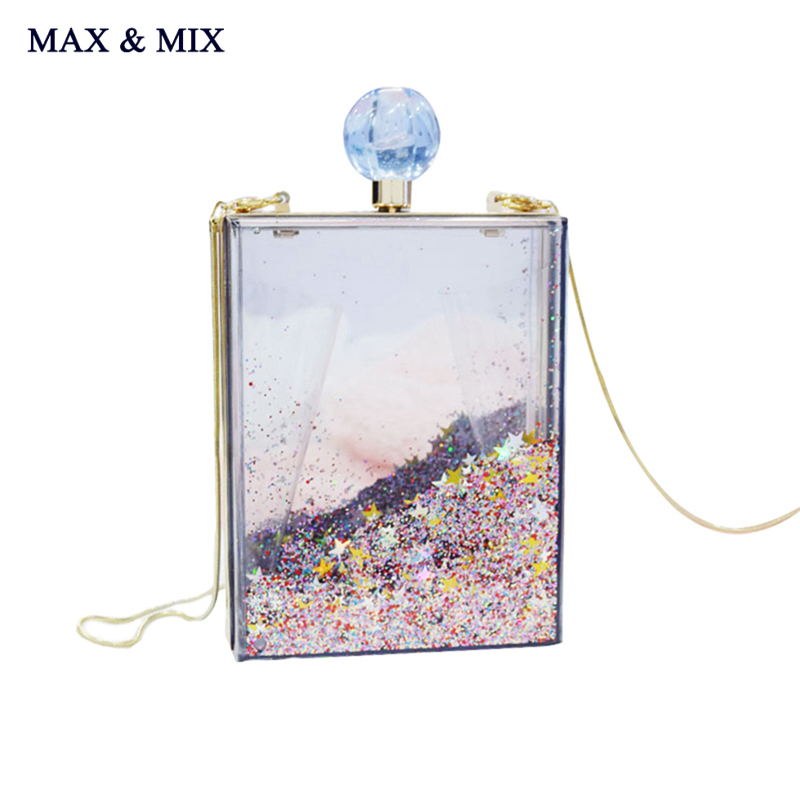 MAX&MIX Super Recommendation Women Transparent Clear Box Clutch Acrylic Evening Handbag Cross Body Transparent Perspex Purse Bag(China (Mainland))
