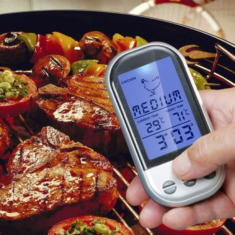 Remote Wireless Digital Kitchen Cooking Meat Thermometer with Timer for BBQ Grill Oven(China (Mainland))