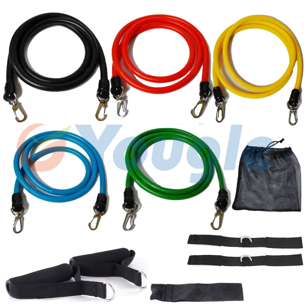 11 Pcs/Set Latex Resistance Bands – Pilates Yoga Crossfit Fitness Tubes