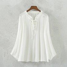 Summer Blouse 2016 Loose Shirt Lantern sleeve chest tying Crumpling shirt hedging Cotton Women Shirt Ladies Tops  XY1463(China (Mainland))
